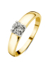 Diamond Point Groeibriljant ring c shape in 18 karat yellow gold, 0.45 ct.