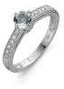 Diamond Point Witgouden ring, 0.36 ct aquamarijn, Since 1904