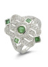 Diamond Point Witgouden ring, 0.64 ct smaragd, Since 1904