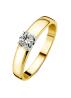 Diamond Point Groeibriljant ring c shape in 18 karat yellow gold, 0.34 ct.