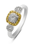 Diamond Point Caviar ring in 14 karat white and yellow gold
