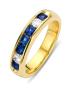 Diamond Point Geelgouden ring, 0.68 ct blauwe saffier, Majestic