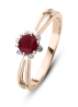 Diamond Point Roségouden ring 0.44 ct robijn ( behandeld) Empress