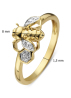 Diamond Point Queen bee ring in 14 karat yellow gold with white rhodium