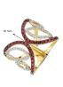 Diamond Point Geelgouden ring, 0.80 ct granaat, Like a star