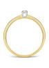 Diamond Point Ring in 14 karaat geel- en witgoud