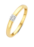 Diamond Point Groeibriljant ring c shape in 18 karat yellow gold, 0.07 ct.